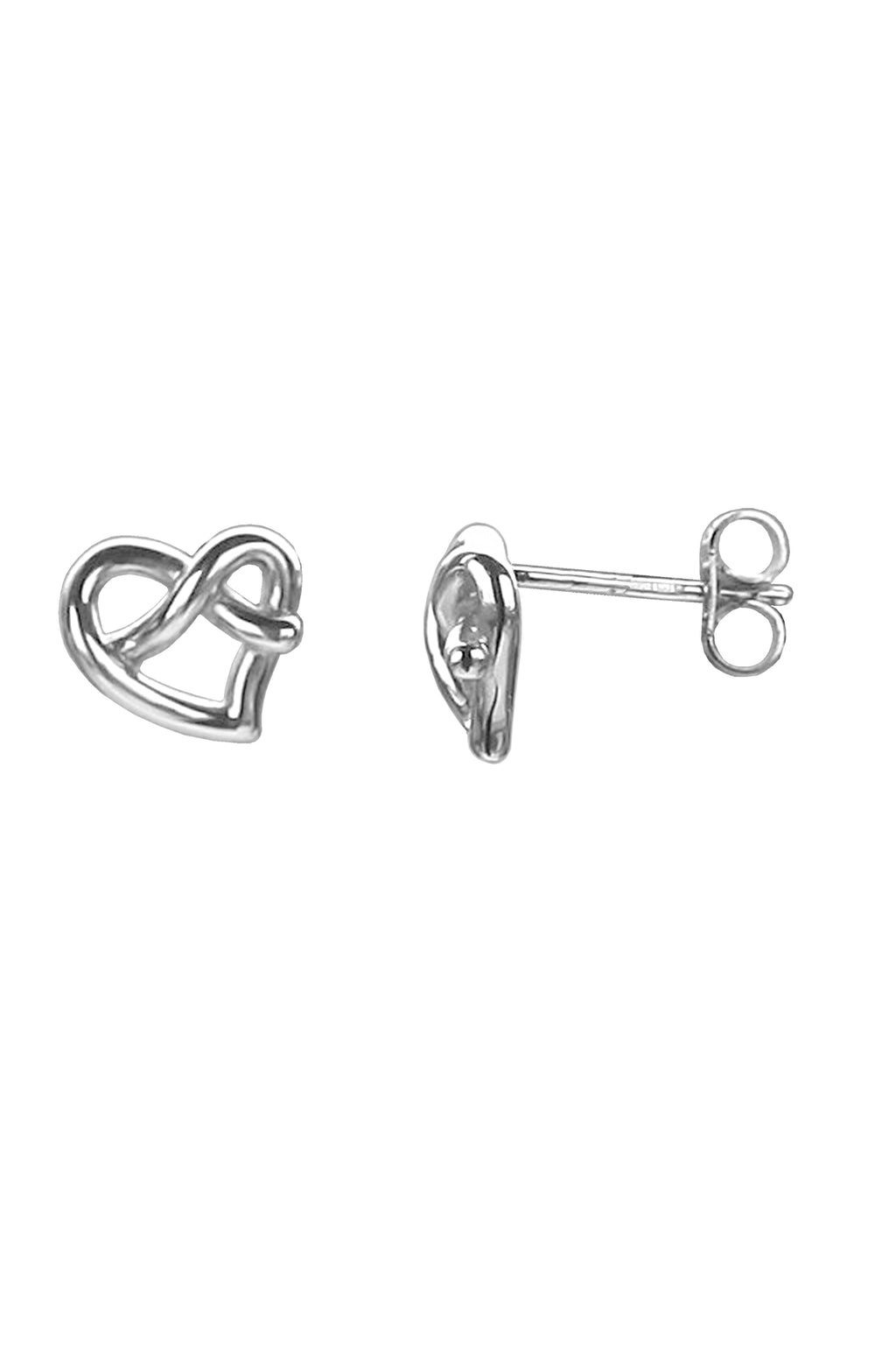White Gold Heart Knot Stud Earrings