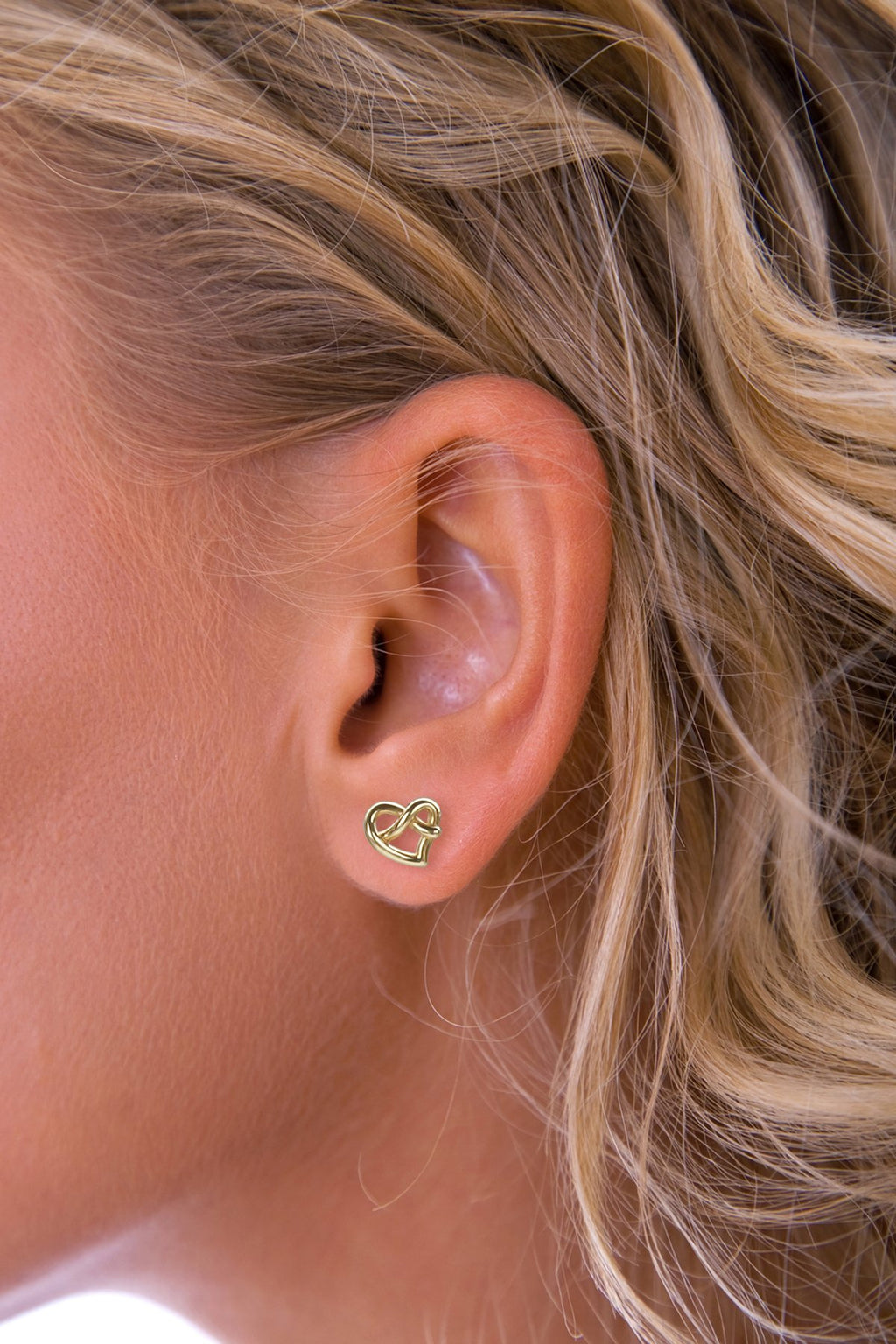 Gold Heart Knot Earrings
