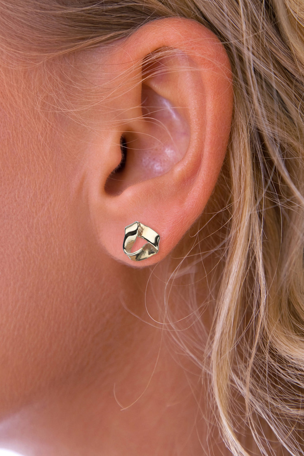 Gold Folded Triangle Stud Earring
