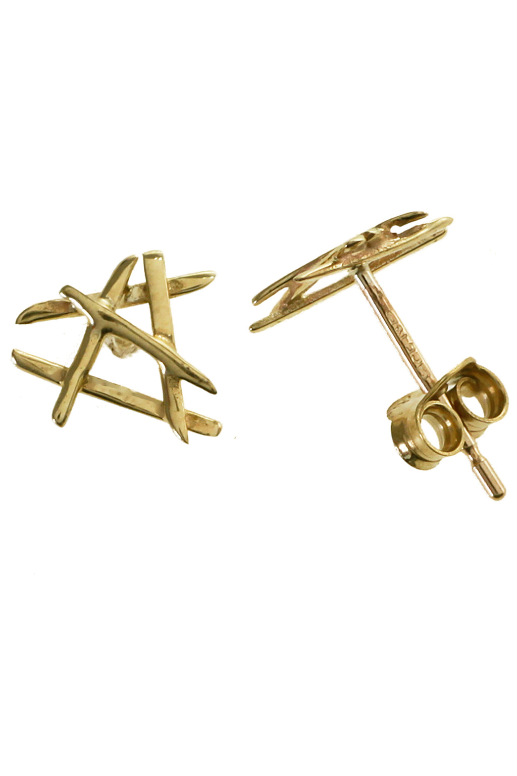 Gold Cross-stick Earrings