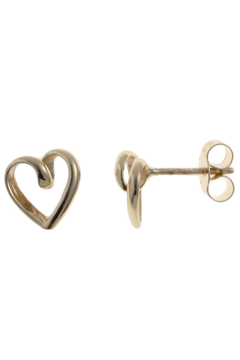 Gold Heart Stud Earrings