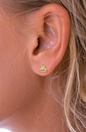 Gold Pyramid Stud Earrings