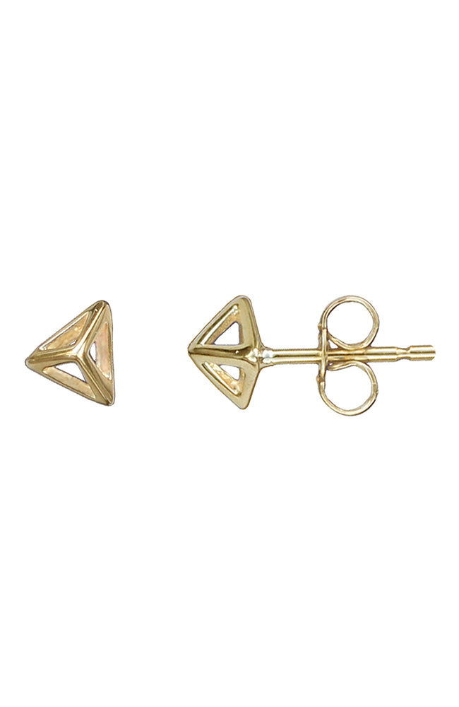 Gold Pyramid Stud Earrings / Nina  B Jewellery