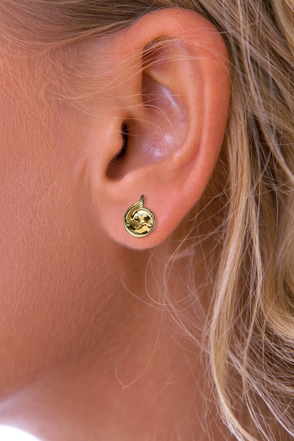 Gold Cone Twist Stud Earring