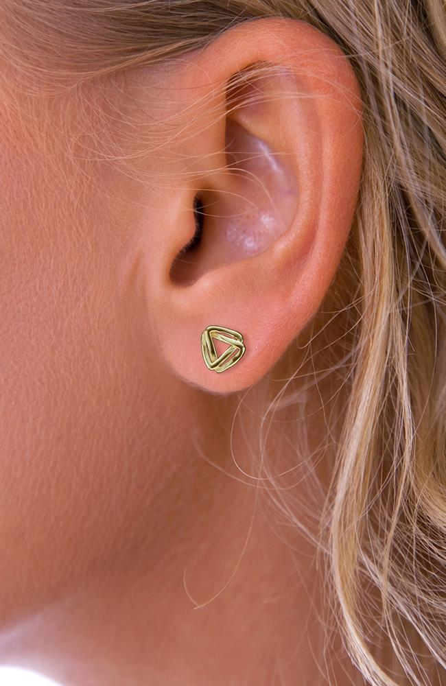 Gold Double Triangle Stud Earrings