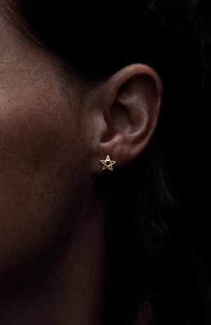 Gold Open Star Earrings