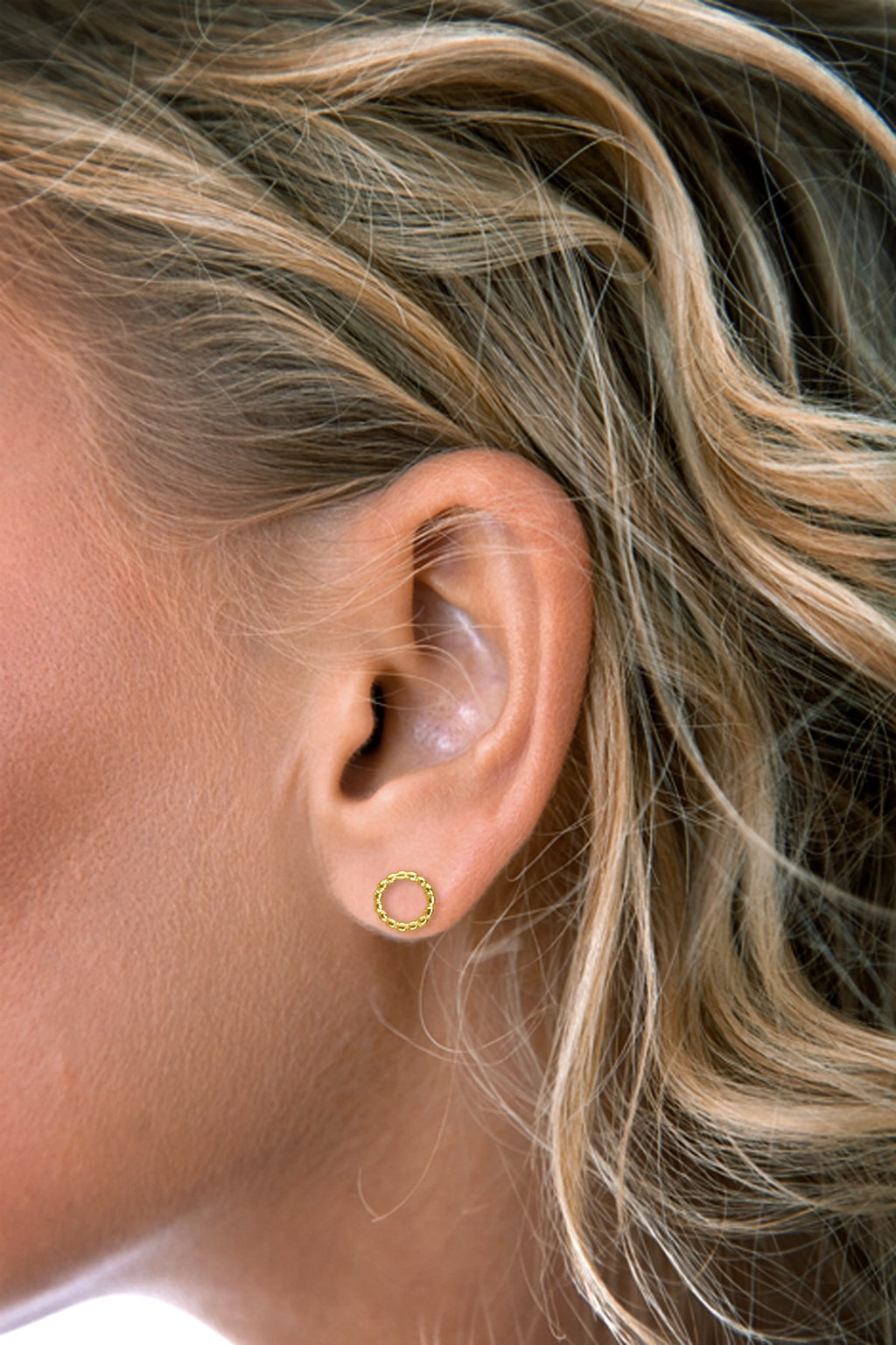Gold Circle Stud Earring