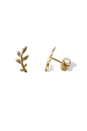 9ct Gold Earring Olive branch twig stud earrings