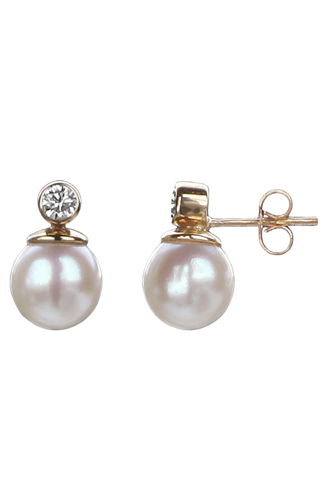 Diamond and Akoya Pearl Earrings / Nina B Jewellery