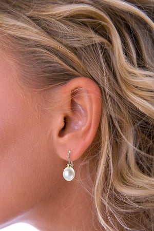 Freshwater White Pearl Gold Drop Earrings