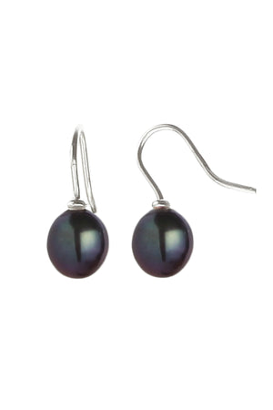 Black freshwater pearl silver earrings / Nina B Jewellery
