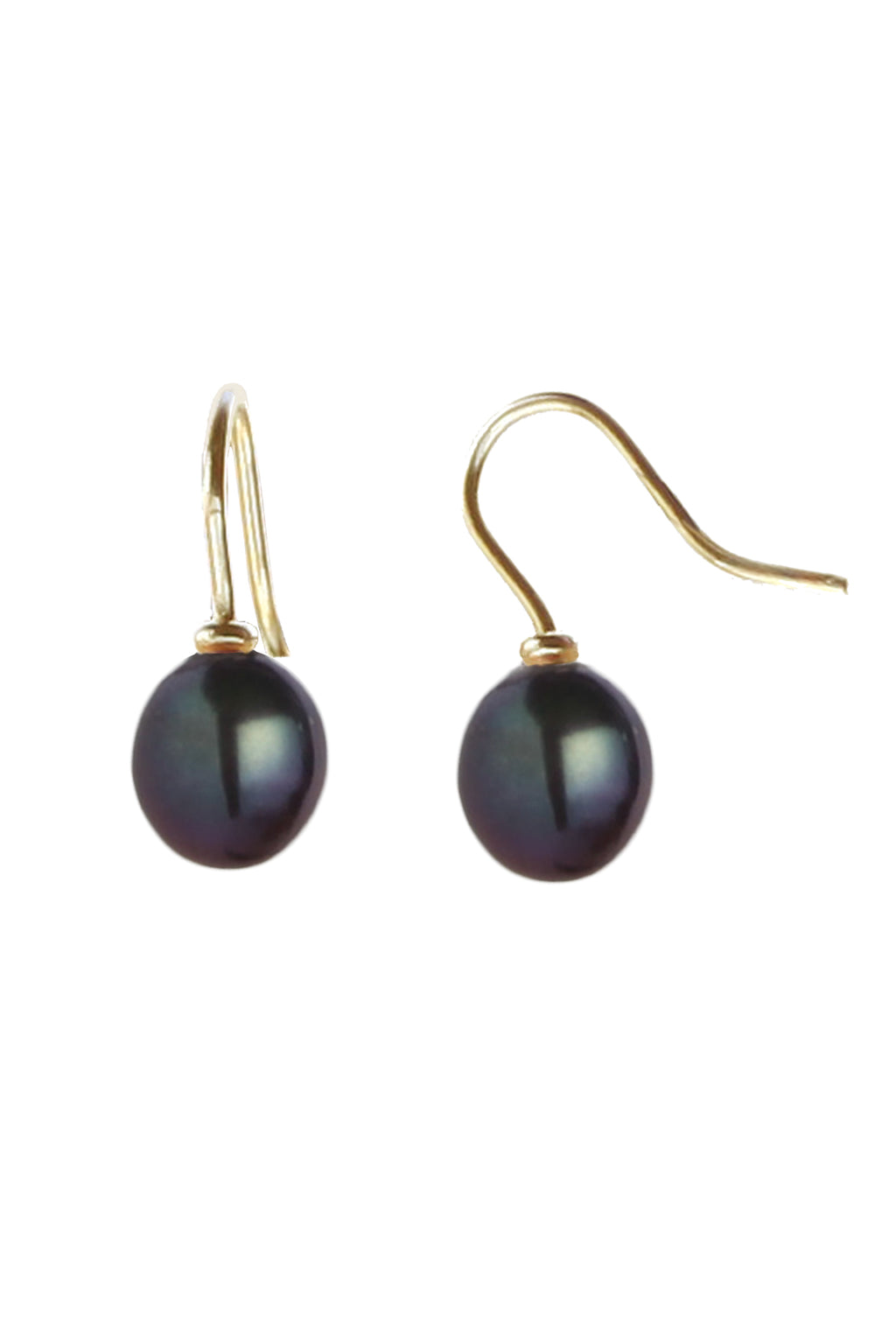 Freshwater Black Pearl Gold Drop Earrings