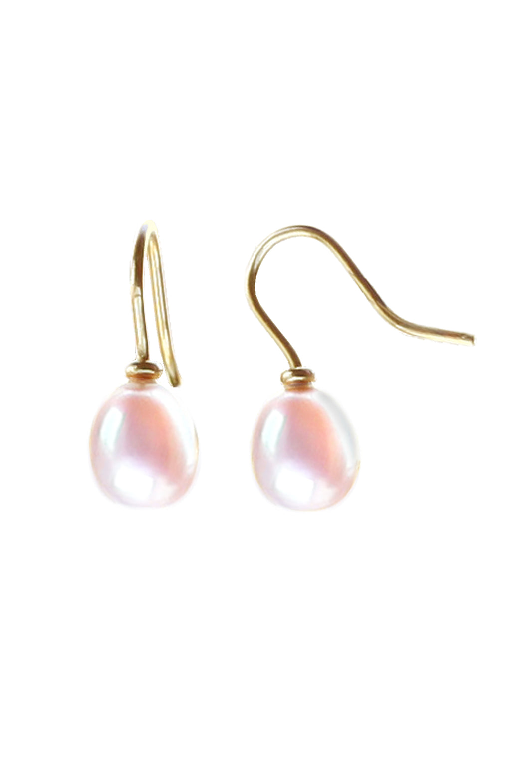 Freshwater Pink Pearl Earrings in 9ct Yellow Gold