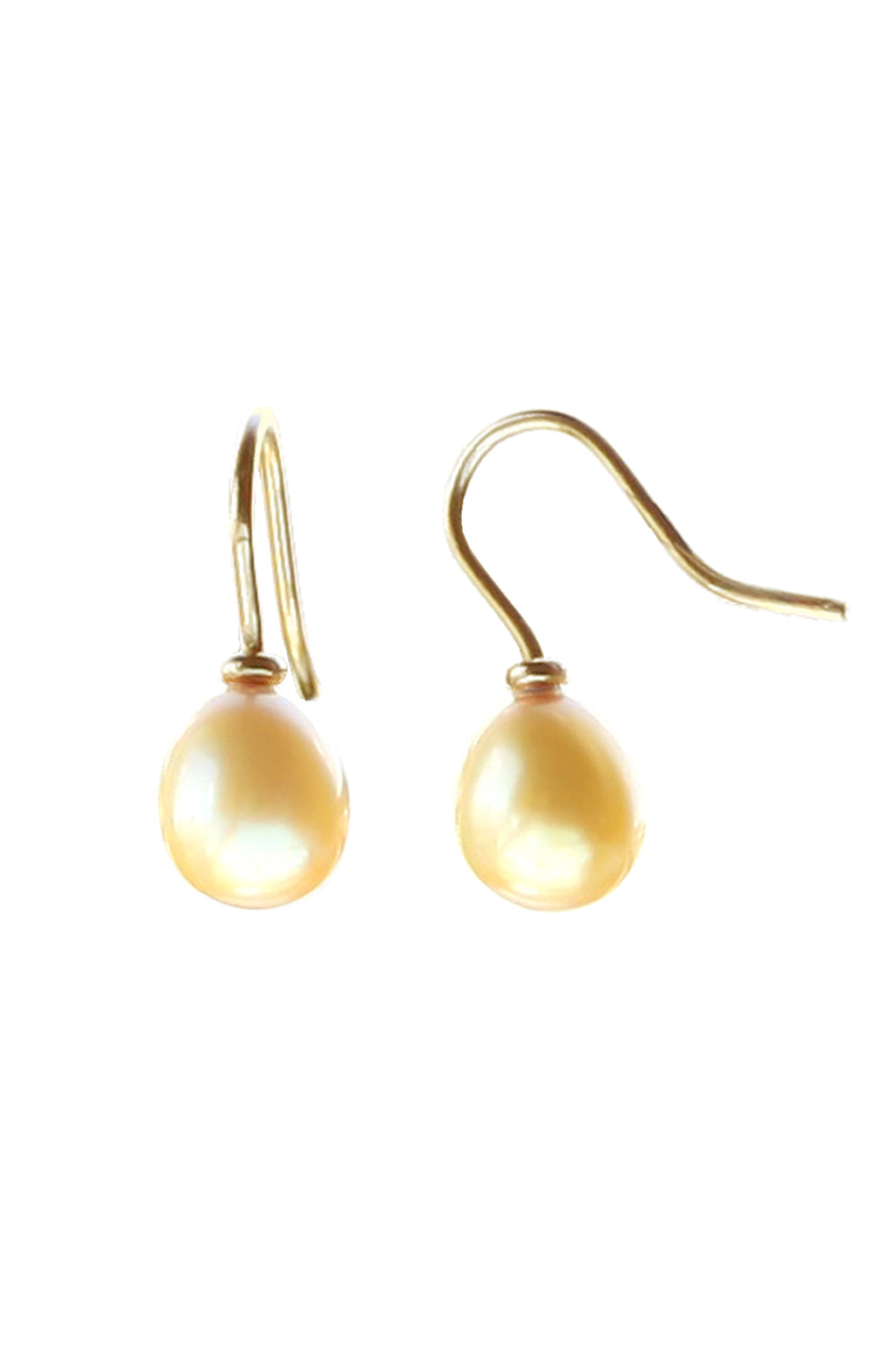 Freshwater Yellow Pearl Gold Drop Earrings