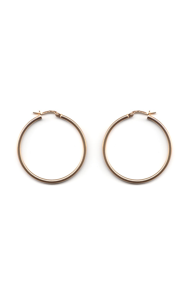 9ct Gold medium hoop earrings