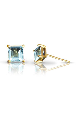 CZ White Gold square stud earrings