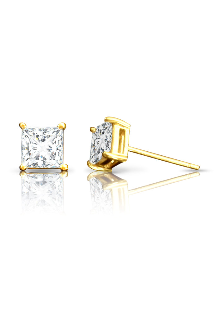 Gold CZ Stud Earrings / Nina B Jewellery