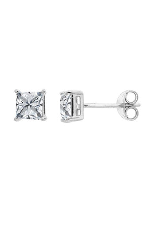 CZ Gold square stud earrings