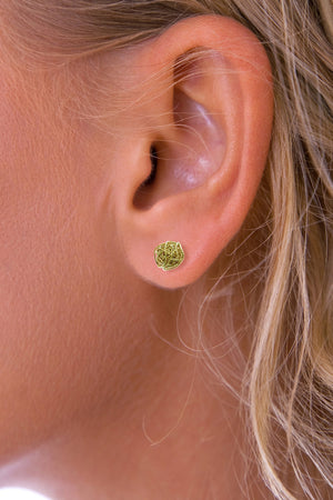 Gold Round Nest Stud Earring