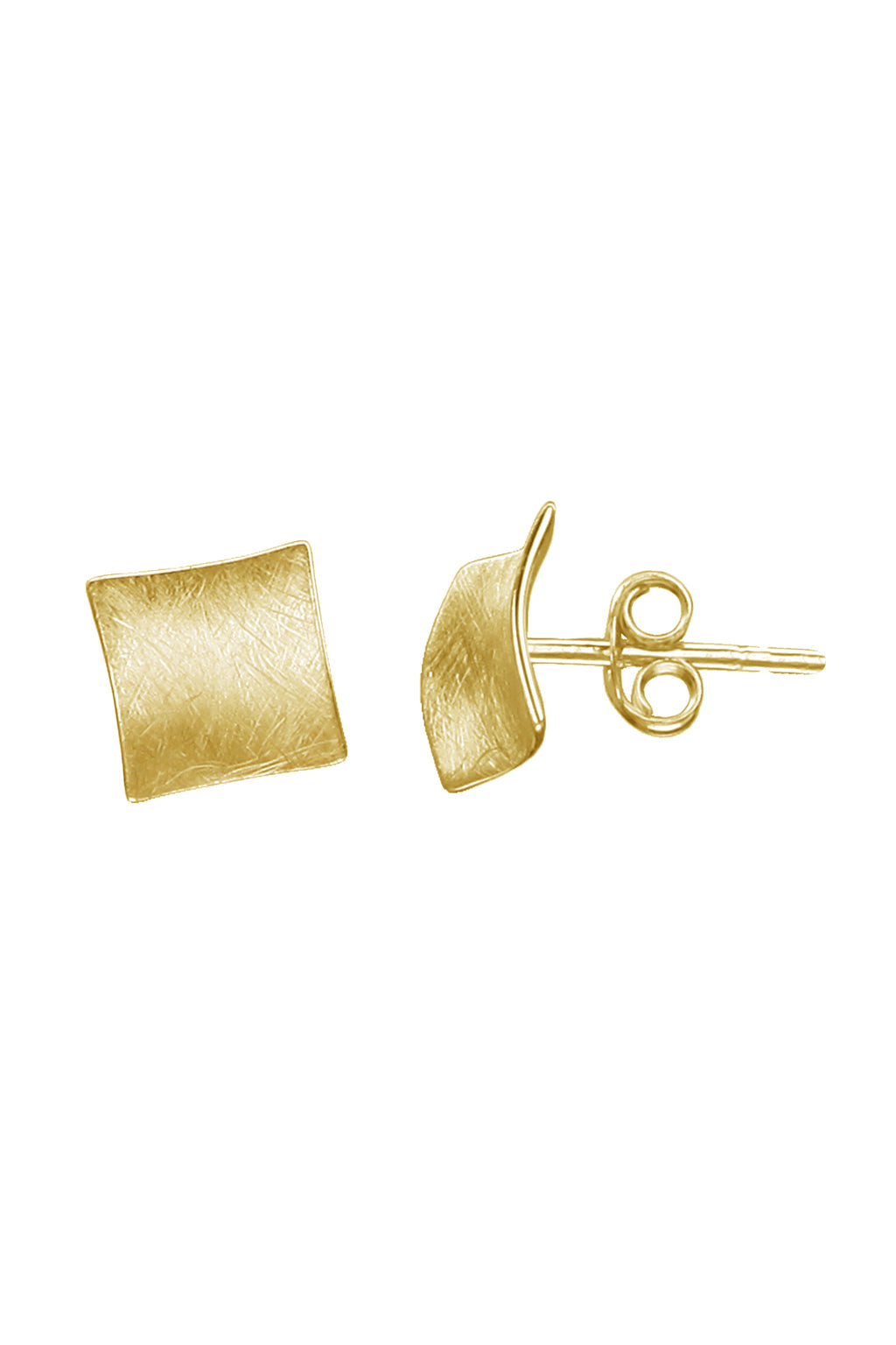 Gold Concave Square Stud Earring