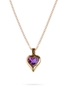 Gold Heart Pendant with Cubic Zirconia