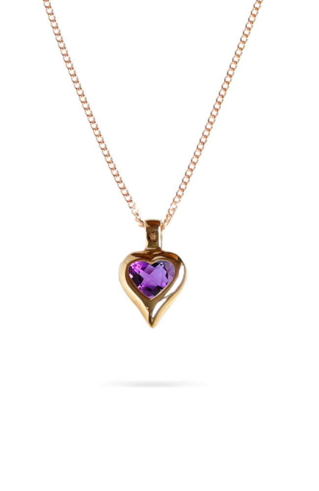 Gold Heart Pendant with Amethyst | Nina B Jewellery