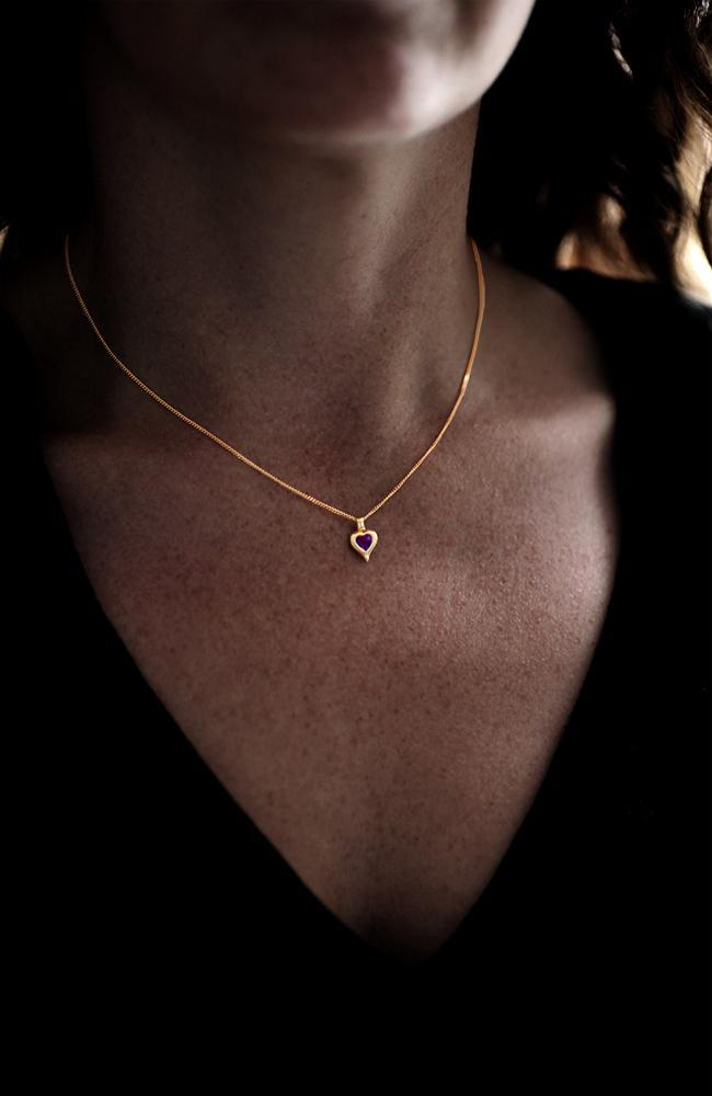 Gold Heart Pendant with Amethyst