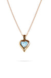 Gold Heart Pendant with Blue Topaz | Nina B Jewellery
