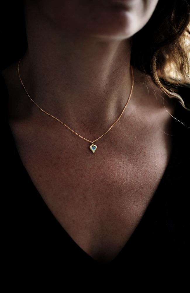 Gold Heart Pendant with Blue Topaz