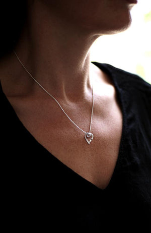 9ct White Gold Large Heart Pendant