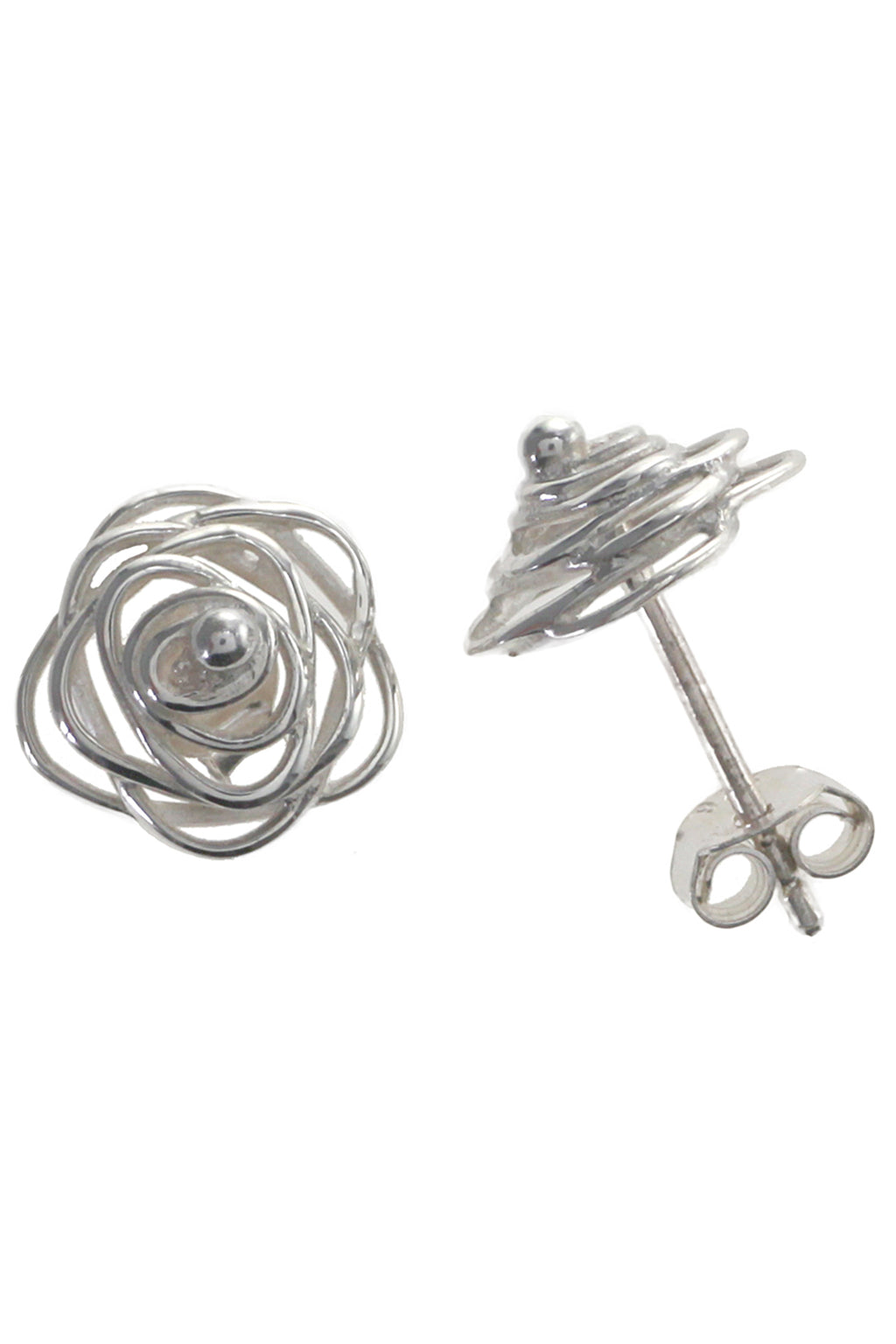Silver Rose Design Earring