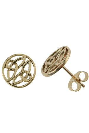 Gold Stud Earrings in Celtic Style