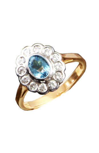Diamond Aquamarine Gold Ring / Vintage Style Ring / Nina B Jewellery