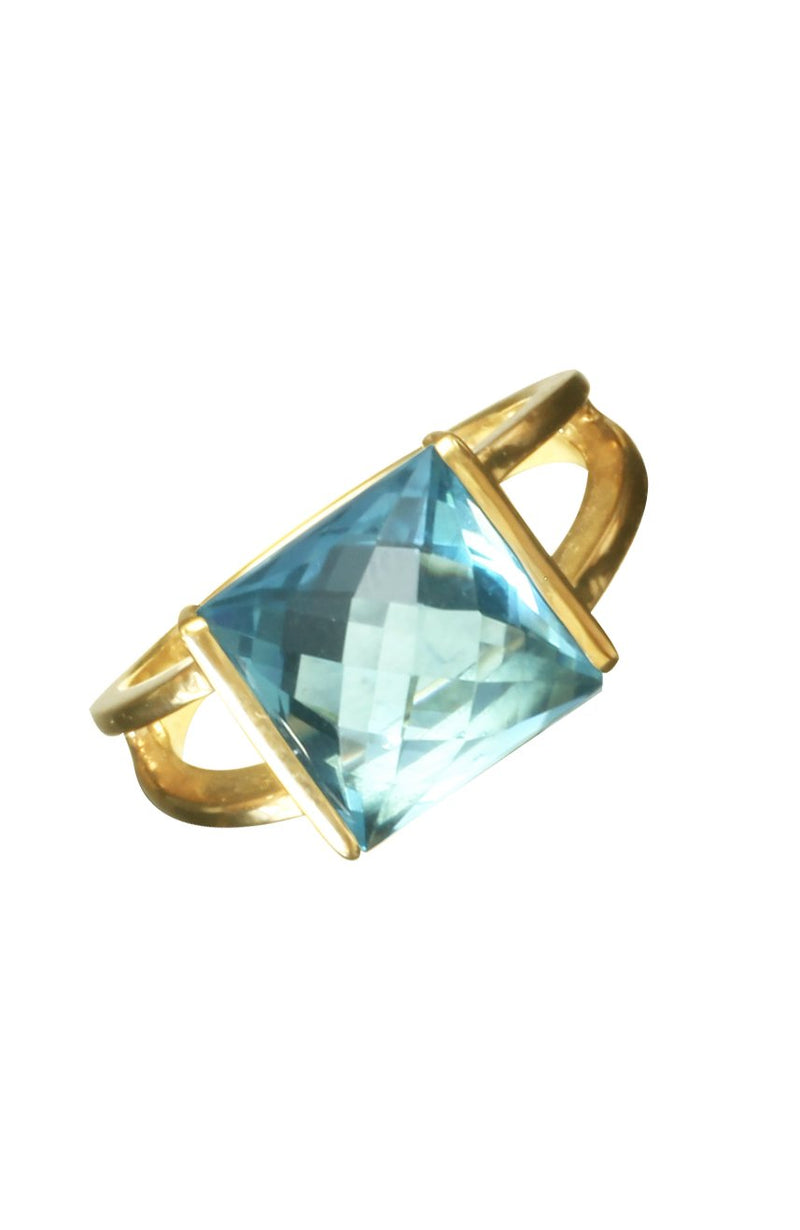 Square Blue Topaz Rock Gold Ring