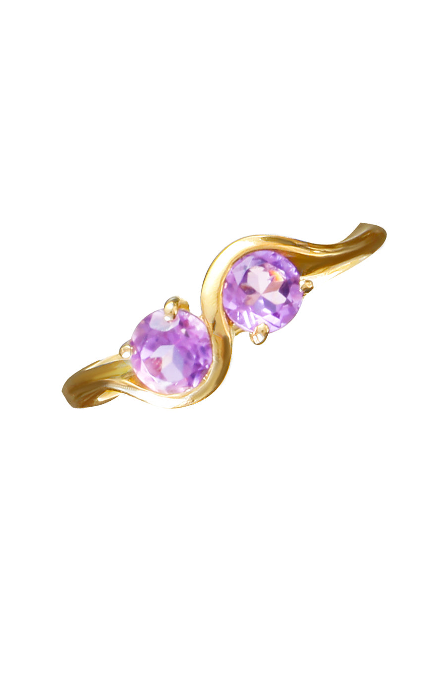 Twin Amethyst Stones Gold Ring