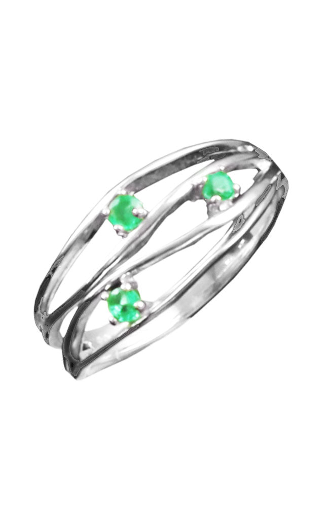 Emerald Encrusted White Gold Ring