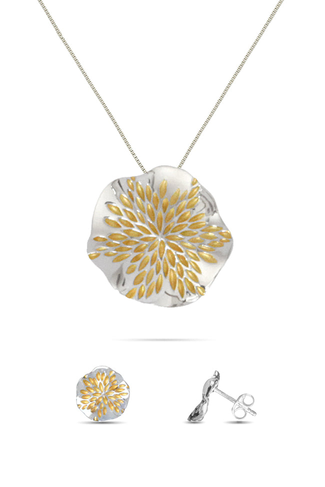 Pendant & Earring Set with Golden Petals