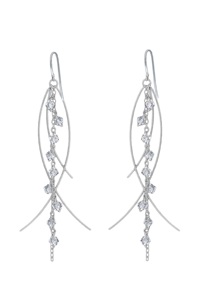 Silver & Crystal drop earrings