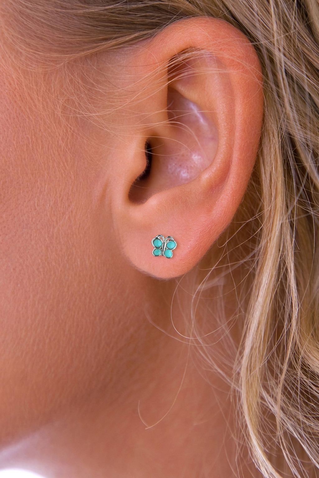 Silver Turquoise butterfly stud earrings