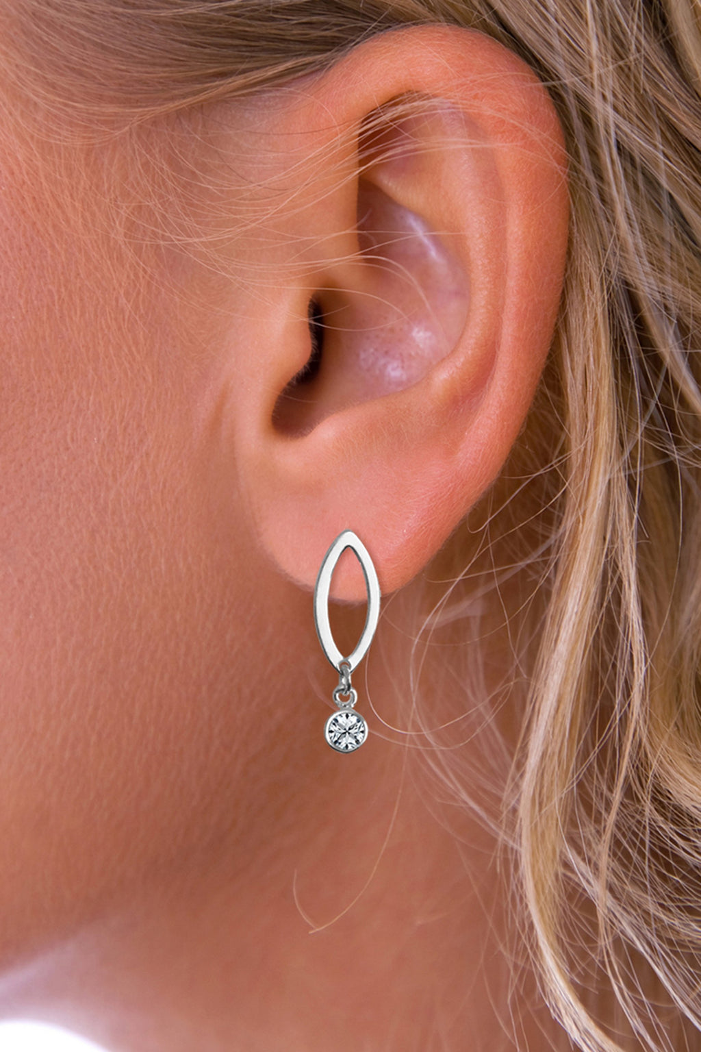 Silver Drop Crystal Earrings