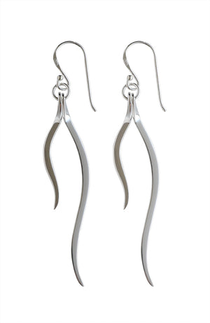 Silver 2-strand drop earrings | Nina B Jewellery