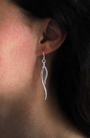 Silver two-strand drop earrings
