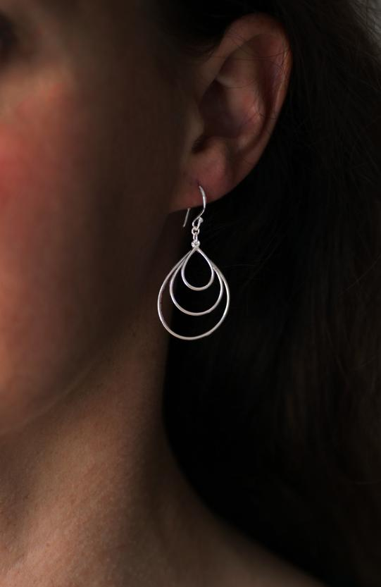 Silver Triple Drop Earrings