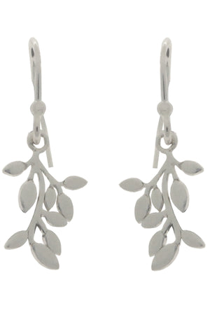 Silver Leafy Branch Drop Earrings