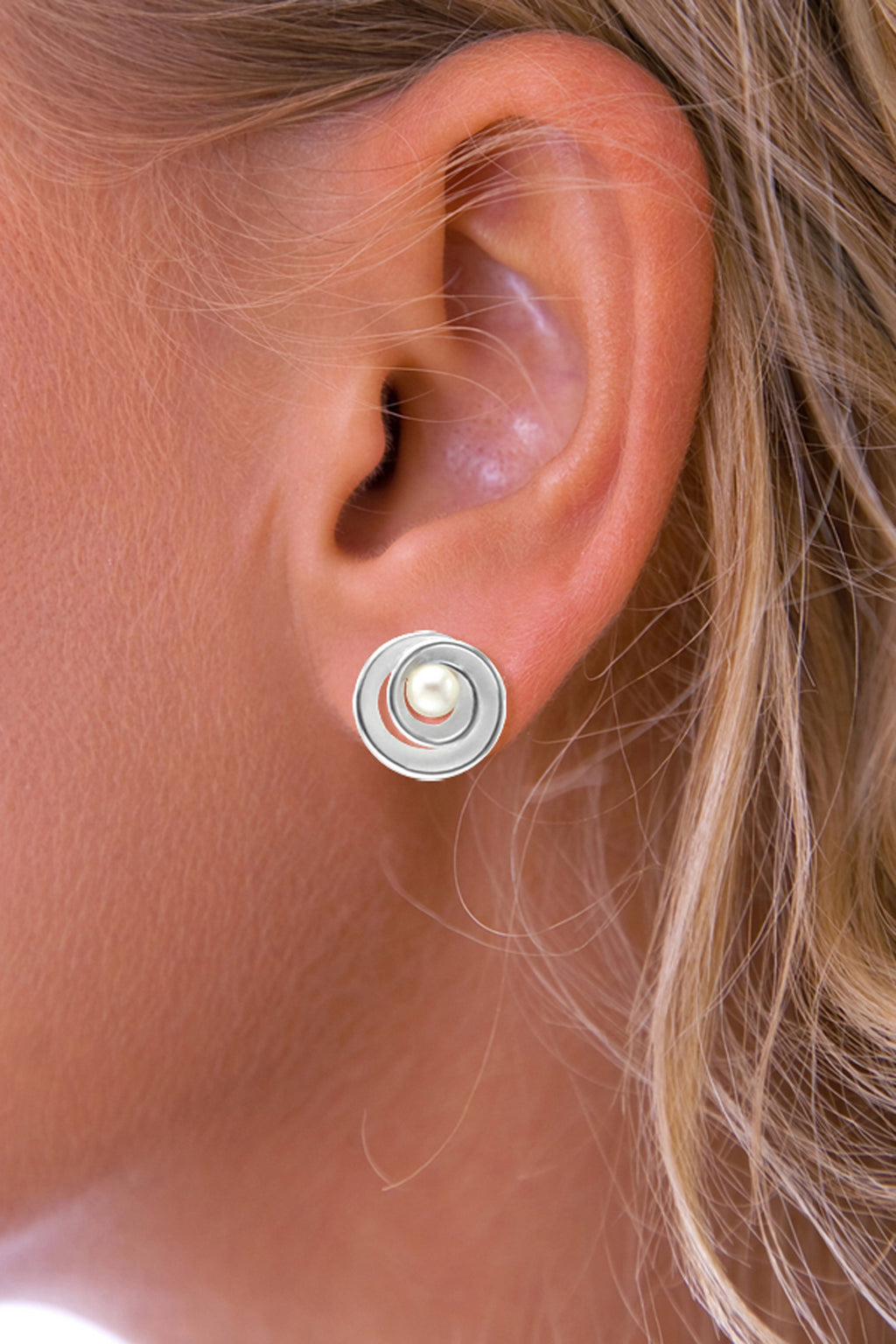 Pearl Spiral Silver Earrings