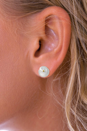 Brushed Silver Lily Pad stud earrings