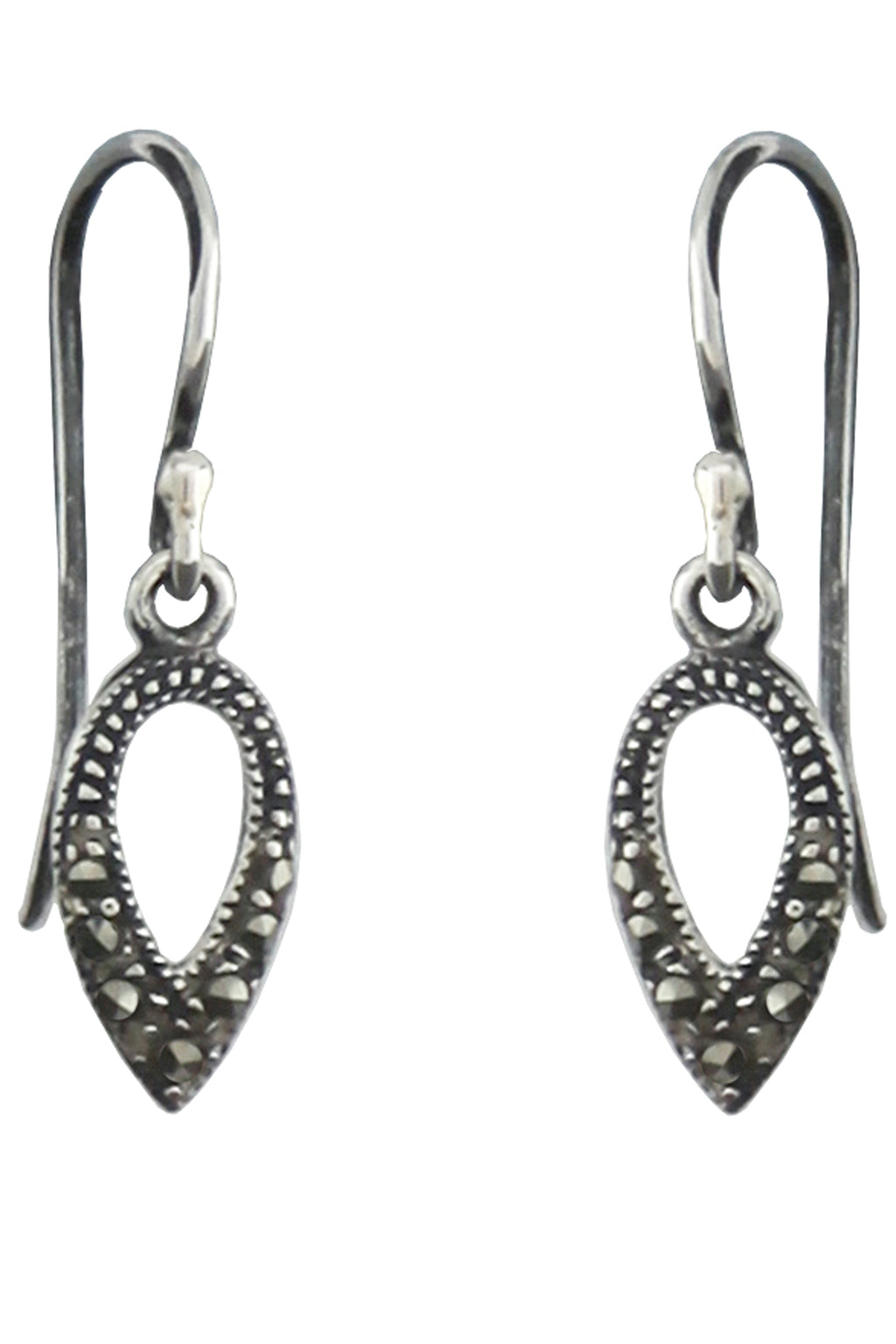 Marcasite Teardrop Silver Earrings