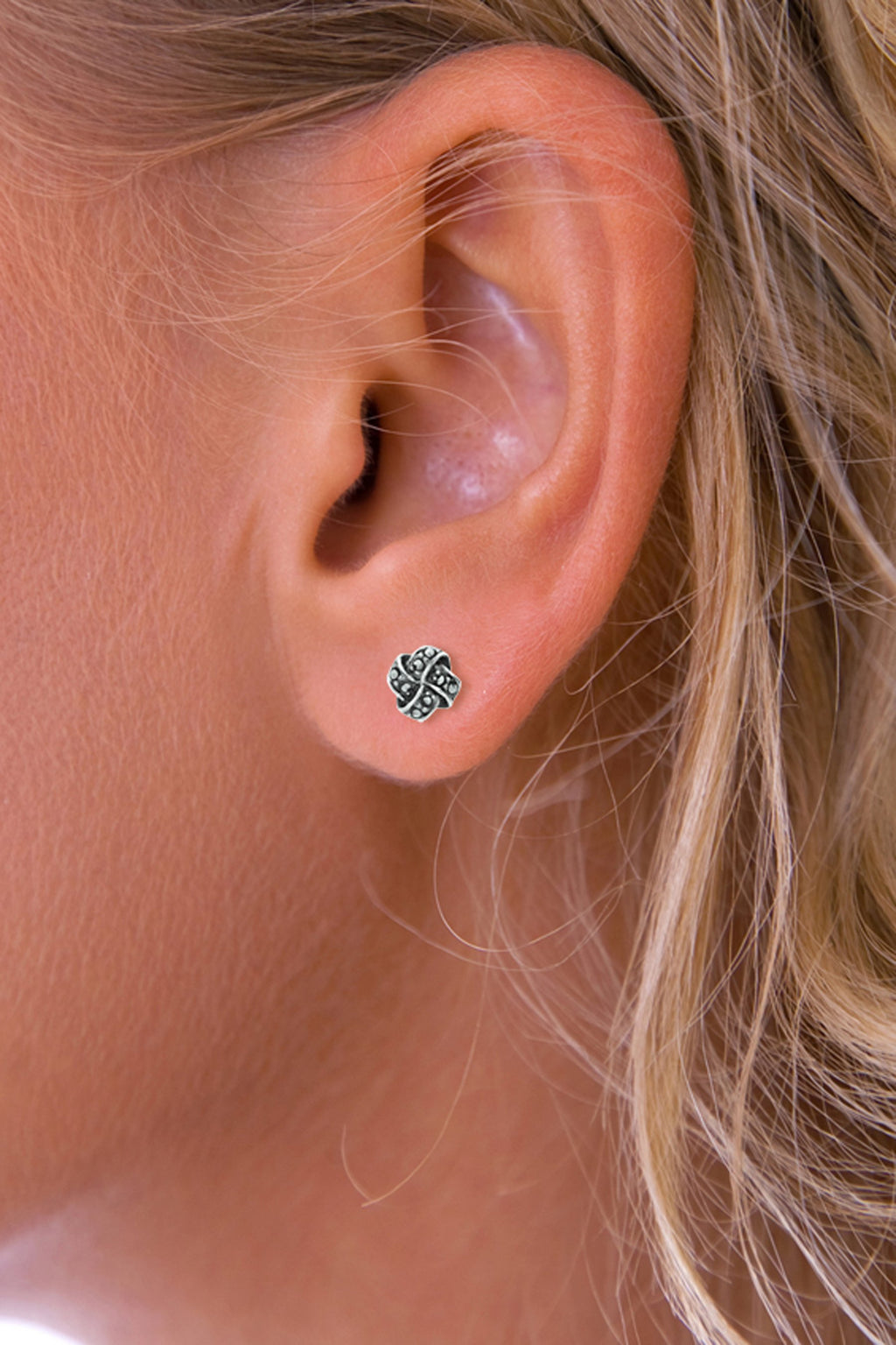 Marcasite Knot Stud Silver Earrings