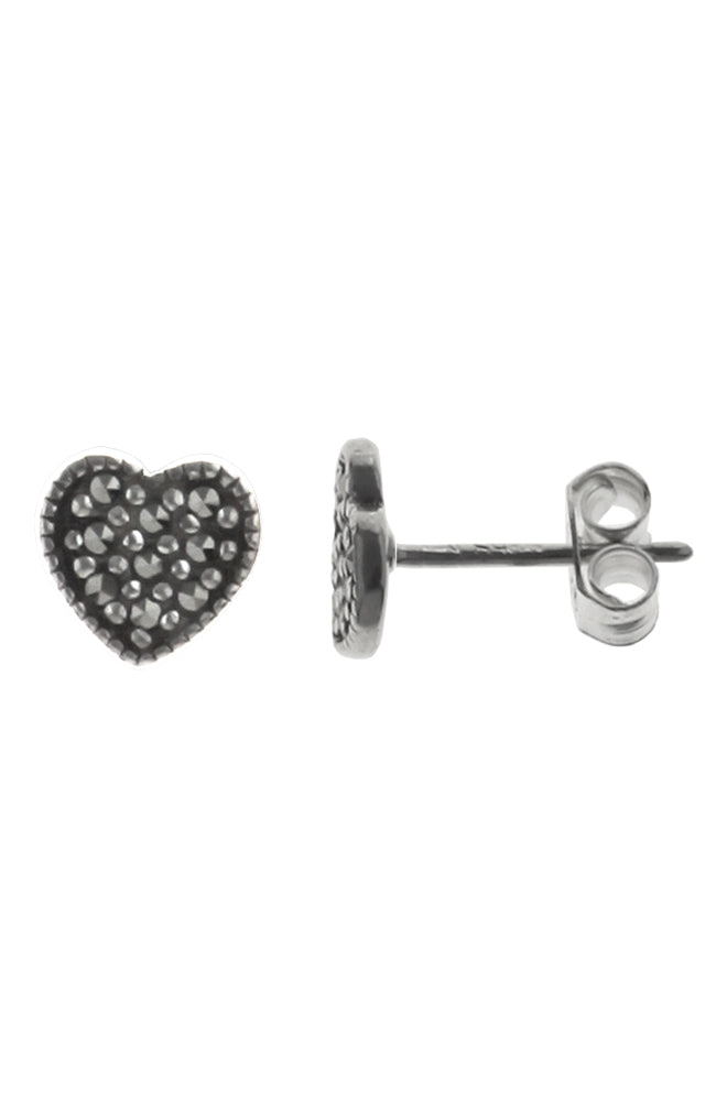 Marcasite Heart Stud Silver Earrings