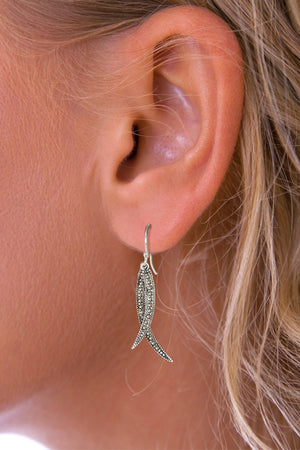 Marcasite Double Drop Silver Earrings